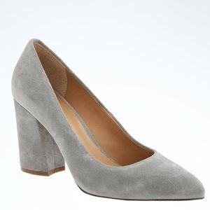NWT Banana Republic grey/gray suede block heels